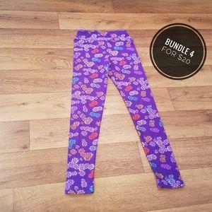 👻LuLaRoe Purple Floral Tween Leggings👻